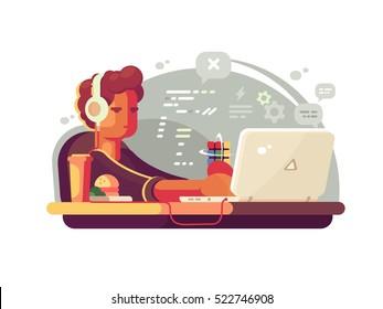 Web developer works on laptop