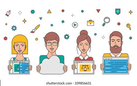 Web developers, teamwork, business people vector illustration