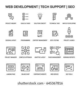 Web developing. Tech support. SEO. Icons set. Linear. Black on white.