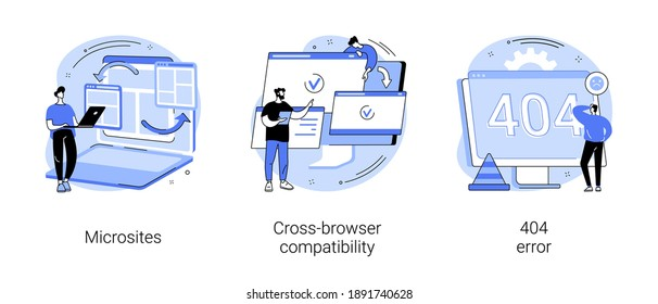 Web development abstract concept vector illustration set. Microsite interface, cross-browser compatibility, 404 error, programming, company page, page not found, website user abstract metaphor.