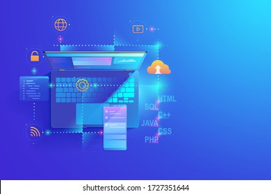 Web development, application design, coding and programming on laptop and smartphone concept with programming language and program code and layout on screen vector.