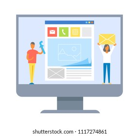 Web development banner isolated on white backdrop, monitor of contemporary computer with mockup of future application, people holding program`s icons
