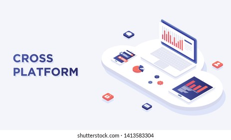 Web development and coding. Cross platform development website. Adaptive layout internet page or web interface on screen laptop, tablet and phone. Isometric concept illustration. Cloud technology