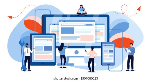 Web development and coding. Cross platform development website. Adaptive layout internet page or web interface on screen laptop, tablet and phone. Small people are working on creating a website