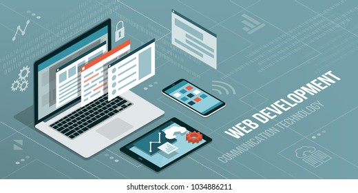 Web development and coding: laptop with virtual interactive screens and mobile devices