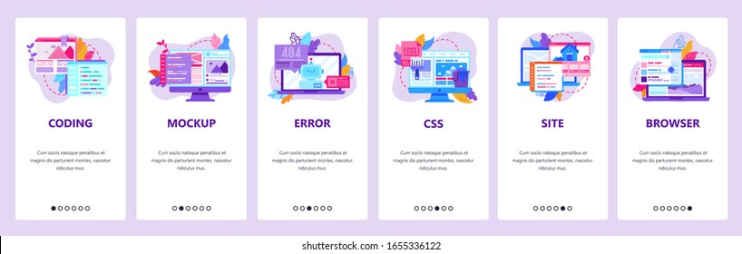 Web development and coding mobile phone app icons. 404 error, css and html code, computer technology. Onboarding screens. Vector template for website mobile development. Web site design illustration.