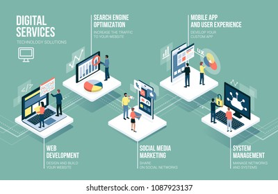 Web development, communication technology, social media and marketing services infographic with people, computers and touch screen devices