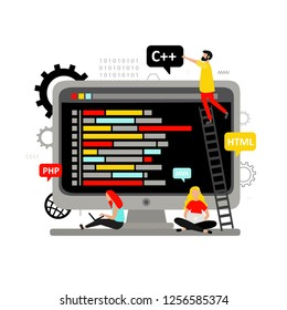 Web development, computer programming, coding, engineering. Software. Programming languages: HTML, JAVA, PHP, C++. Concept for web design with  desktop computer and people.