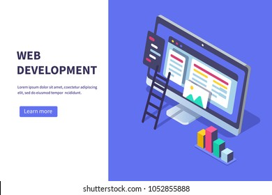 Web development concept banner. Can use for web banner, infographics, hero images.  Flat isometric vector illustration isolated on white background.