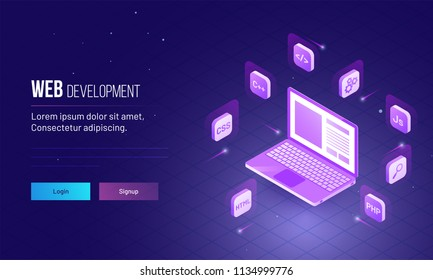 Web Development concept, isometric design of laptop with different programming languages option, responsive website template design sign up login page.
