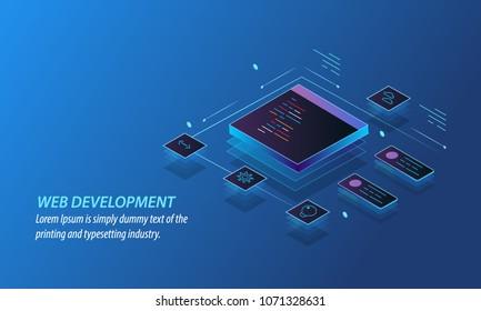 Web development, design, programming, coding, website conceptual vector illustration with icons