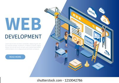 Web development, developers optimizations of sites vector. Programming of application, script writing, programmers coding scripts with html and css