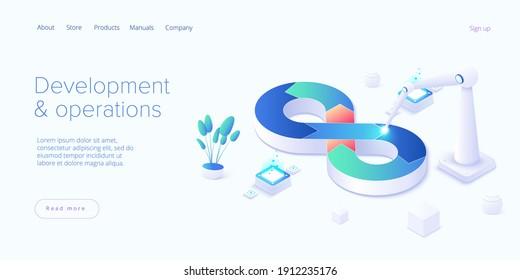 Web development or devops concept in isometric vector design. Developing of internet app or online website service. Creative vector illustration. Landing page layout or banner template.