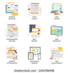 Web development flat style icons set colored website design element