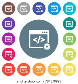 Web development flat white icons on round color backgrounds. 17 background color variations are included.
