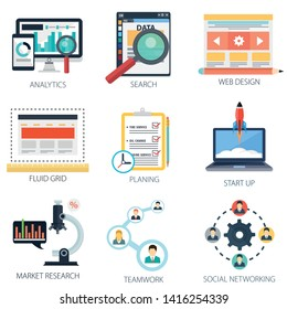Web development Icons, Analytics, web design Search, web icons, design elements, Marketing Research Icons, Social Media Icons