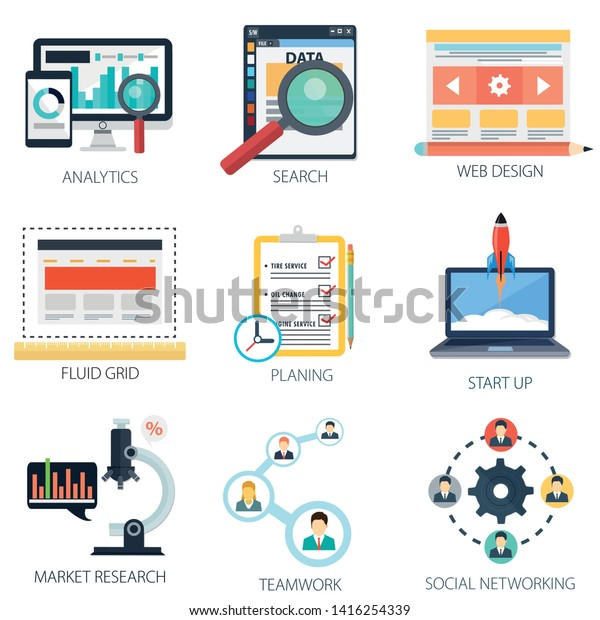 Web Development Icons Analytics Web Design Stock Vector Royalty Free 1416254339