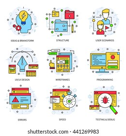 Web development line concept with descriptions of structures user scenarios wireframes programming errors speed vector illustration