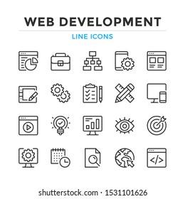 Web development line icons set. Modern outline elements, graphic design concepts, simple symbols collection. Vector line icons