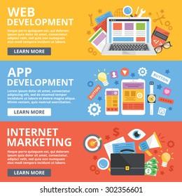 Web development, mobile apps development, internet marketing flat illustration concepts set. Modern flat design concepts for web banners, web sites, printed materials, infographics.Vector illustration