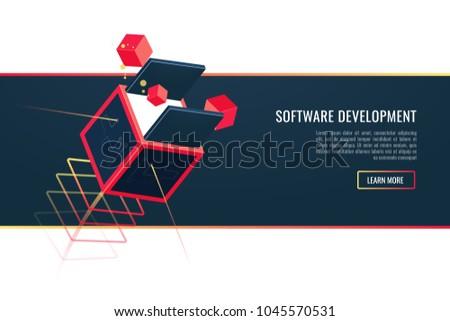 Web Development Mobile Apps Development Software Stock Vector