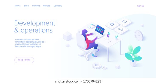 Web development and operations concept in flat design. Developing of internet app or online website service. Creative vector illustration. Landing page layout or banner template.