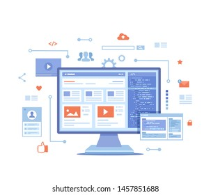 Web development, optimization, user experience, user interface in e-commerce. Website layout elements, photo, video, program code, search bar, site wireframe. Vector illustration on white background