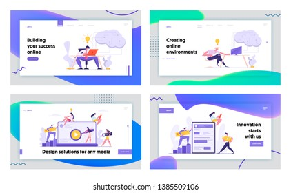 Web Development Programming and Coding Concept Banner. Developers Character Working on Software Landing Page Website Interface. Vector flat cartoon illustration