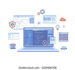 Web Development Programming Coding. laptop with program code on the screen, virtual screens, infographic elements  icons. Bug fixing. landing page template or web banner. Vector illustration on white