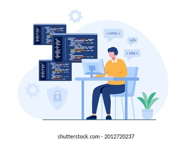 Web development. programming languages. css, html, it, ui. programmer cartoon character developing website, coding. flat illustration banner