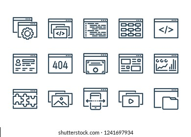 Web Development related line icon set. Marketing, SEO and content linear vector icons.