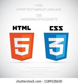Web development shield signs: html5, css3. Vector illustration.