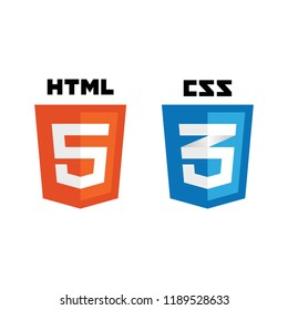 Web development shield signs: html5, css3. Vector illustration.