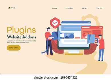 Web development, software development, Web design, CMS plugins - landing page vector illustration