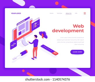 Web development teamwork people and interact with site. Landing page template. 3d isometric vector illustration.