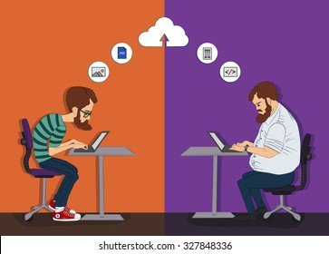 Web development technology. People working together in Web development. Remote work on project Hackathon. Cloud files and documents. Remote technology on Hackathone. Control cloud backend as a service