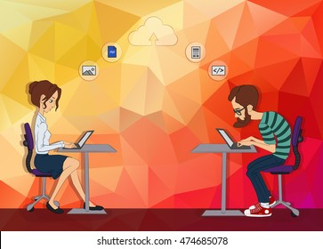 Web development technology. People working together in Web development. Remote work on Hackathon. Business man looking at laptop. Man and woman looking at laptop. Cloud backend as a service on laptop