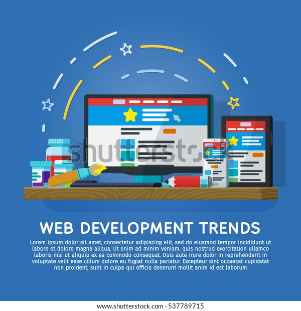 Web Development Trends for 2017 vector banner. Monitor, tablet and smartphone in a flat style. User interface on digital tablet and on mobile phone. Devices on a wooden table. Vector illustration