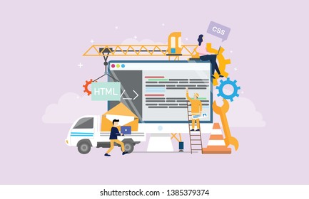 Web Development Under Construction Page Tiny People Character Concept Vector Illustration, Suitable For Wallpaper, Banner, Background, Card, Book Illustration, And Web Landing Page