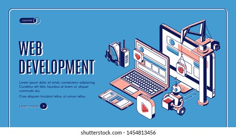 Web development, website construction landing page on retro colored background, building crane, forklift, robot put media icons on pc, laptop and smartphone screen. Isometric 3d vector line art banner