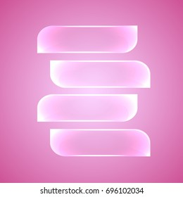 Web elements, horizontal glass plates for infographic on pink background. Vector illustration