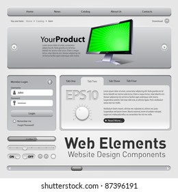 Web Elements Website Design Components Gray: Buttons, Form, Slider, Scroll, Icons, Tab, Menu, Navigation Bar, Bread crumbs