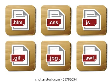 Web files icons. Vector icon set. Three color icons on cardboard tags.