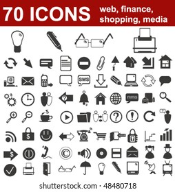 Web, Finance, Shopping and Media Icons