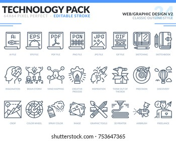 Web and Graphic Design Icons Set. Editable Stroke. Technology outline icons pack. Pixel perfect thin line vector icons for web design and website application.