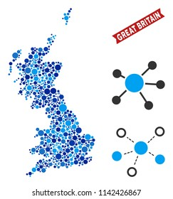 Web Great Britain map mosaic. Abstract territorial scheme of links in blue color tones. Vector Great Britain map is composed with web links. Concept of interlink ditributor.