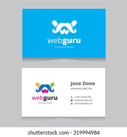 Web guru, Web design logo and business card template
