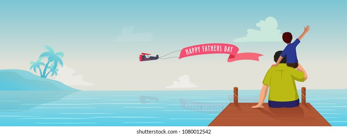 Web header or banner design with a son on his father's shoulder and seeing ocean together.