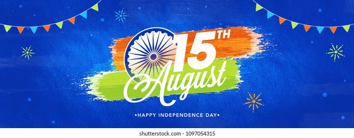 Web header or banner design with stylish text 15th August and Ashoka Wheel on Blue Abstract Background.