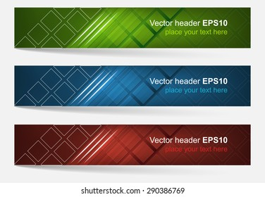 Web header, set of vector banner. Editable design with space for your content and website presentation. Three color variations.
